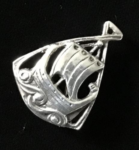 Silver Viking Ship Iona Brooch (1 of 3)
