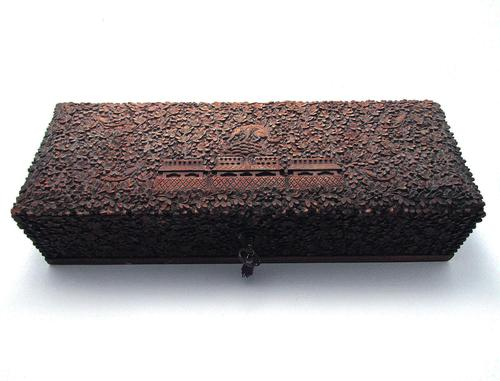 Magnificent North Indian Antique Hand Carved Sandalwood Box Wood Casket, 19th Century India c.1860 (1 of 11)