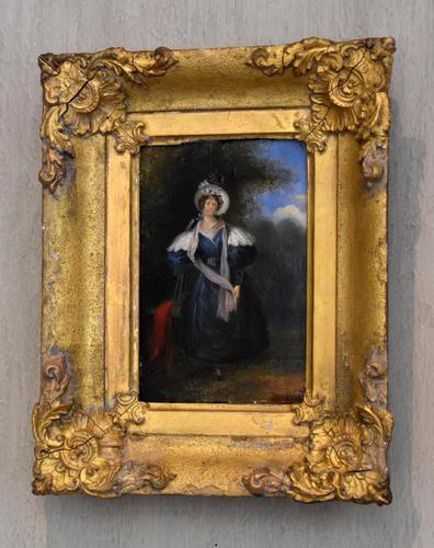 Late Regency Miniature Oil of a Lady (1 of 7)
