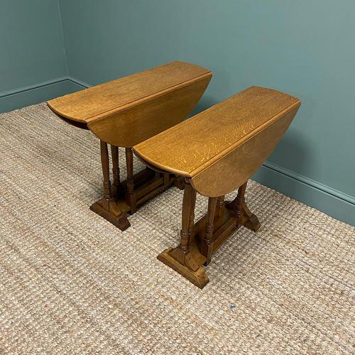 Unusual Pair of Edwardian Oak Drop Leaf Antique Sofa Tables (1 of 7)