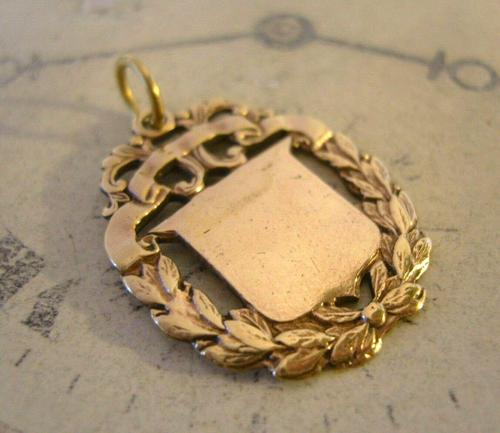 Antique Pocket Watch Chain Fob 1890s Victorian Brass Patented Fancy Shield Fob (1 of 7)