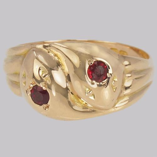 Antique Double Ruby Snake Ring 9ct Gold Vintage Serpent Ring S 1/2 Hallmarked Birmingham 1918 (1 of 8)