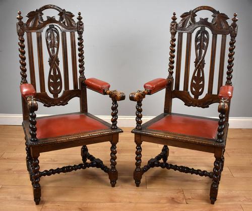 Pair of 1910 Oak Barley Twist Armchairs (1 of 15)