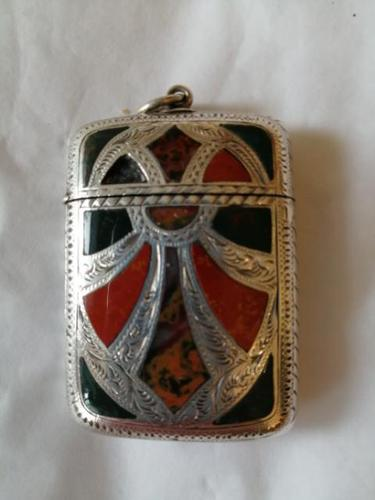 Arts & Crafts Period Silver, Agate & Hardstone Vesta Case (1 of 6)