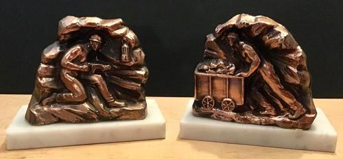 Unusual Pair 1950's Bookends in the shape of coal miners on marble bases (1 of 6)