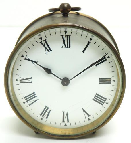 French Drum Carriage Clock Rare Enamel Dial Drum Case Mantel Clock Platform Balance (1 of 8)