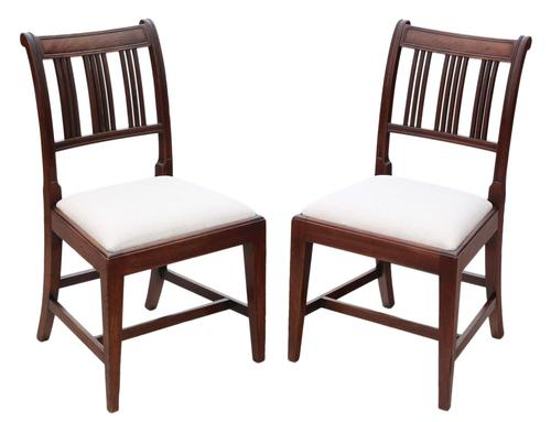 Pair of Georgian mahogany dining side hall bedroom chairs (1 of 7)