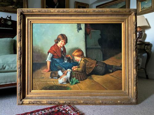 Huge Stunning 20thc Oil Portrait Painting Of 2 Children Playing In A Barn (1 of 12)