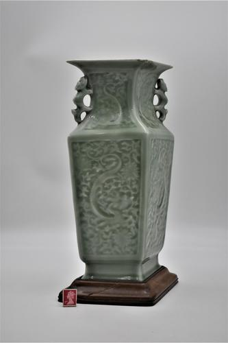 Chinese Celadon Vase on Wooden Stand - Rhombus Shaped (1 of 6)