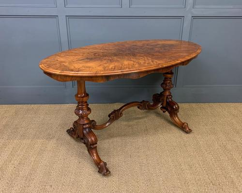 Victorian Burr Walnut Stretcher Table (1 of 13)