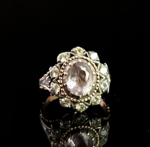 Antique Georgian Pink Topaz Cluster Ring, 18ct Gold, Foiled Paste (1 of 12)