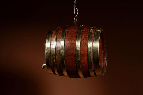 Very Rare and Beautiful Coopered Oak & Brass Small Hanging Barrel (1 of 12)