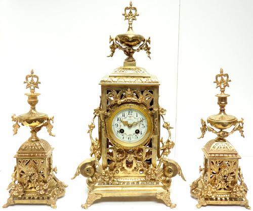 Impressive Antique Candelabra 8-day Clock Set French Striking Rococo Ormolu Bronze Mantel Clock (1 of 15)