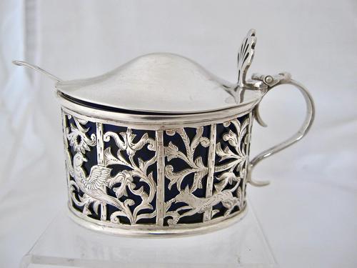 Pretty Victorian Pierced Silver Mustard Pot Edmond Johnson London 1895 (1 of 10)