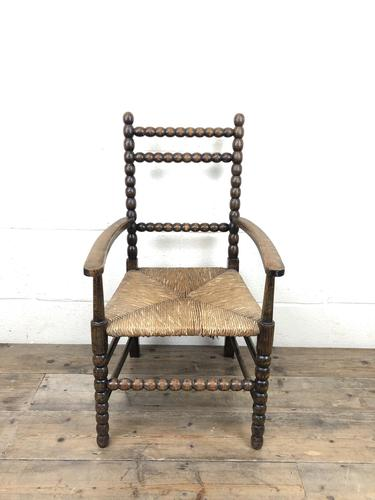 Antique Child's Bobbin Chair with Rush Seat (1 of 10)