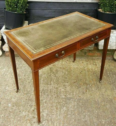 Victorian Mahogany Two-Drawer Writing Desk (1 of 8)