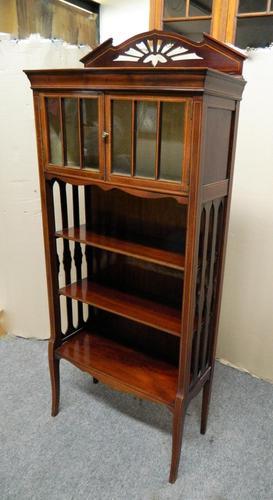 Art Nouveau Mahogany Cabinet Bookcase (1 of 7)