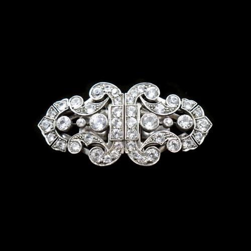 Art Deco Paste Sterling Silver Detachable Dress Clips & Brooch (1 of 9)