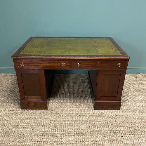 Large Victorian Mahogany Antique Partners Desk (1 of 10)