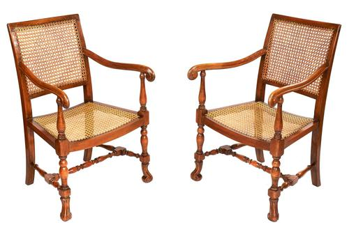 Pair of William & Mary Revival Bergere Elbow Chairs c.1930 (1 of 6)