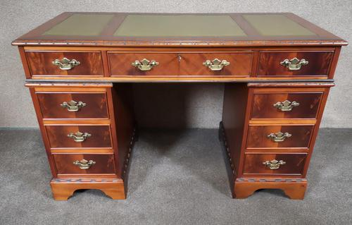 Reproduction Carved Mahogany Kneehole Pedestal Desk (1 of 11)