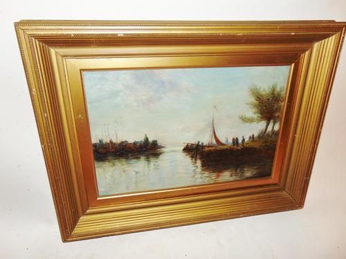 Edwardian oil painting. Harbour scene  1909 (1 of 6)