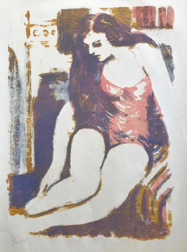 Original Screen Print 'Seated Figure' by Toby Horne Shepherd, Signed. C.1965 (1 of 1)