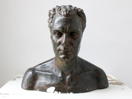 Large Faux Bronze Bust of Musician Charles Proctor (1 of 5)