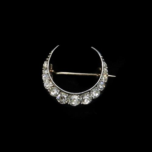 Antique Old Cut Paste Sterling Silver Crescent Moon Brooch Pin (1 of 9)