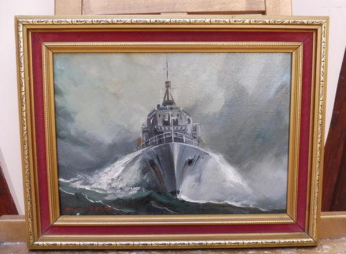 Oil on Board The Battle Ship Listed Artist Dion Pears (1 of 12)