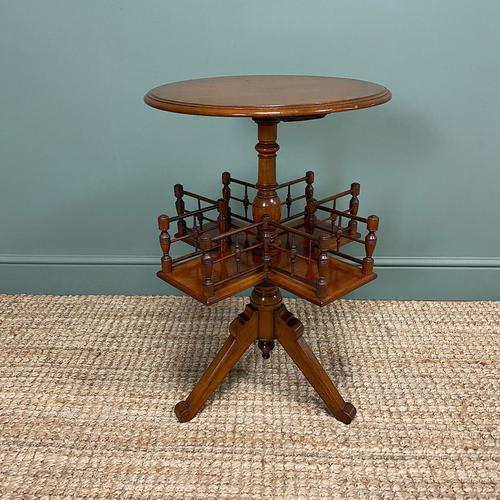 Antique Walnut Revolving Victorian Bookstand Table (1 of 6)