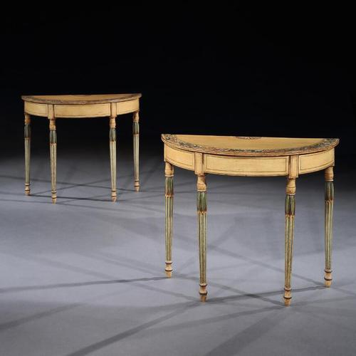 Fine Pair of Georgian Painted Demi-Lune Pier Tables (1 of 10)