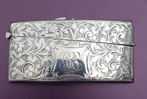 Solid Silver Curved Card Case (1 of 4)