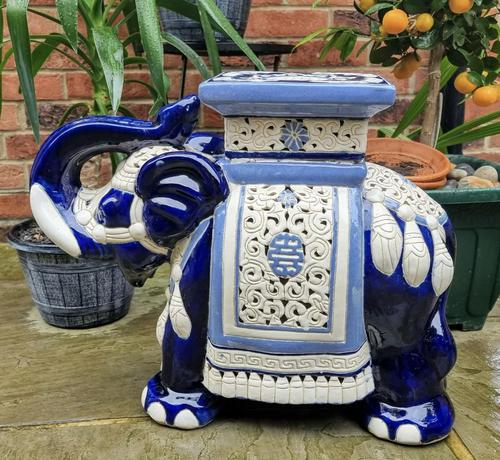 Mid 20th Century French Ceramic Hand-painted Elephant-form Garden Seat (1 of 9)