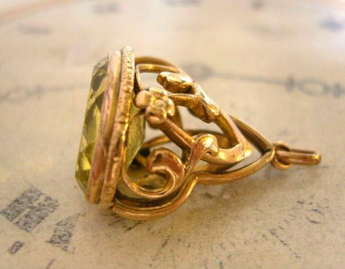 Antique Pocket Watch Chain Fob 1910 Art Nouveau Big Rose Gilt & Green Stone Fob (1 of 9)