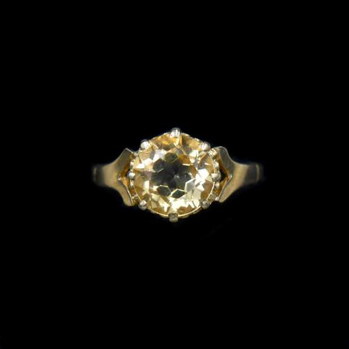 Vintage Round Citrine Solitaire 9ct 9K Yellow Gold Ring (1 of 10)