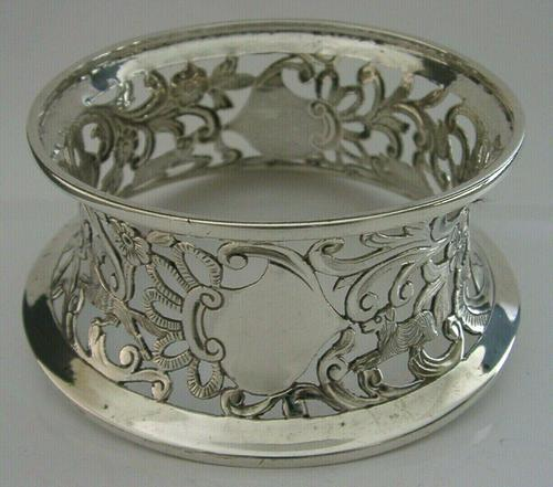 Rare English Solid Sterling Silver Potato Dish Ring London 1917 Antique (1 of 12)