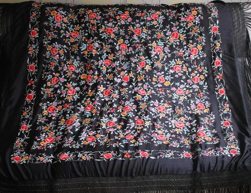 Early 19th Century Chinese Embroidered Silk Piano Shawl (1 of 15)