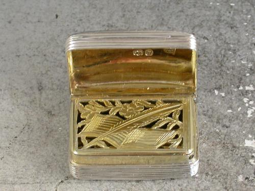 George IV Antique Silver Musical Score & Quill Pen Grille Vinaigrette by William Ellerby, London, 1823 (1 of 8)