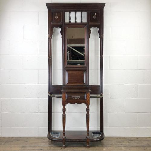 Antique Edwardian Mahogany Mirror Hall Stand (1 of 9)