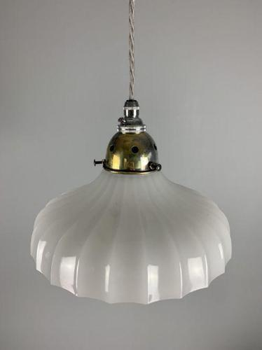 French Pleated Moonstone Pendant Ceiling Light, Original Shade, Rewired (1 of 6)