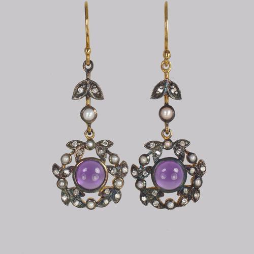 Vintage Amethyst Diamond & Pearl Drop Earrings 18ct Gold Victorian Style Dangle Earrings (1 of 5)