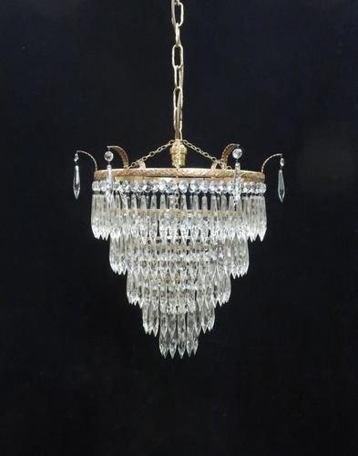 Italian Art Deco Five Tier Crystal Glass Chandelier (1 of 7)