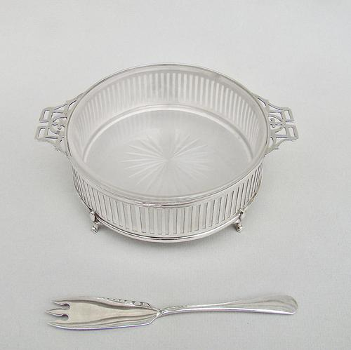 Large George V Silver Butter Dish by Jay's, Birmingham 1911 with Art Deco Silver Butter Knife (1 of 10)