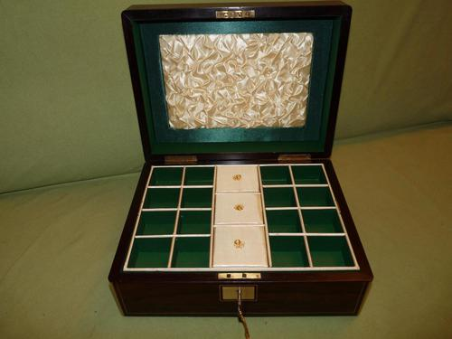 Brass Bound Rosewood Jewellery Box. Plush Interior c.1860 (1 of 11)