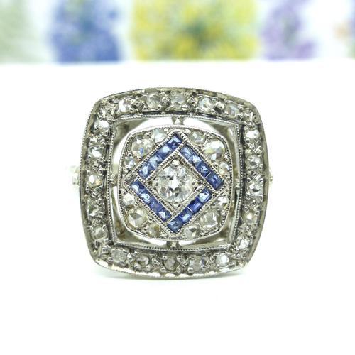 Authentic Art Deco Platinum Rose Cut Diamond & Sapphire Cluster Ring c.1920 (1 of 11)
