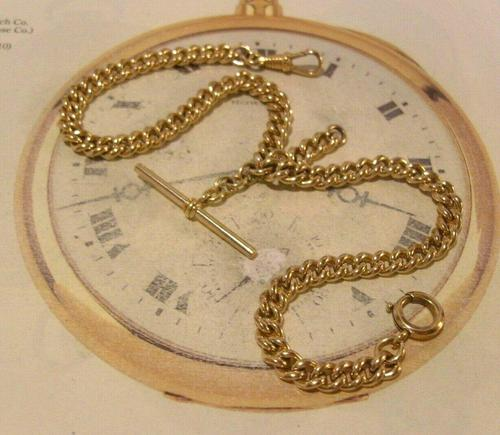 Antique Pocket Watch Chain 1890 Victorian 12ct Rose Gold Filled Albert With T Bar (1 of 12)