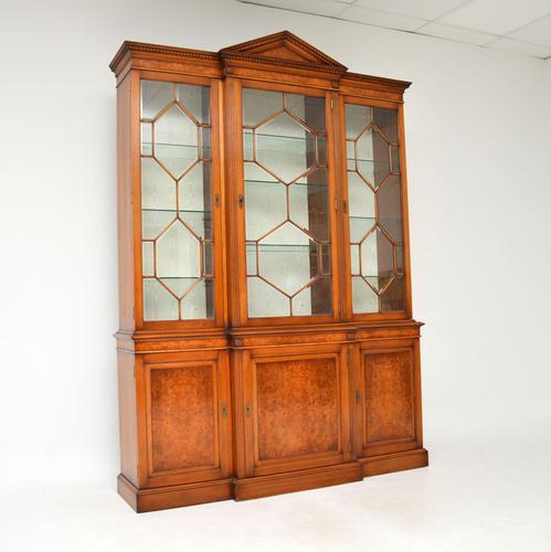 Antique Burr Walnut Breakfront Bookcase / Display Cabinet (1 of 10)