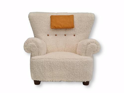 1950s Danish Design, Reupholstered Relax Armchair, Imitation Lambskin (1 of 16)