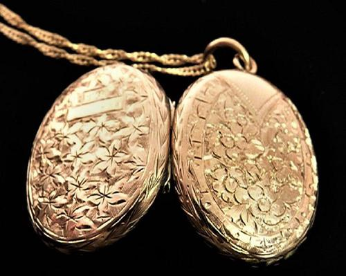 Antique Solid Gold Fully Hallmarked Locket with Chain (1 of 8)